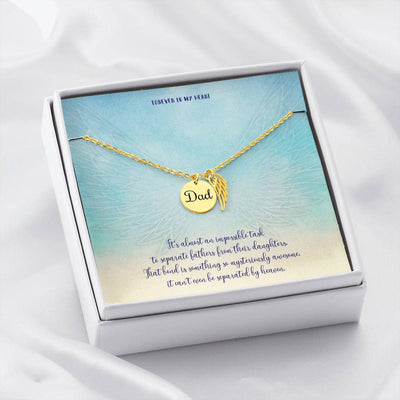 Dad Memorial Jewelry • Angle Wing Necklace Forever In My Heart Jewelry ShineOn Fulfillment 18k Yellow Gold Finish