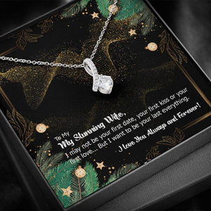 CZ Ribbon Pendant • Holiday Message to My Wife Jewelry ShineOn Fulfillment