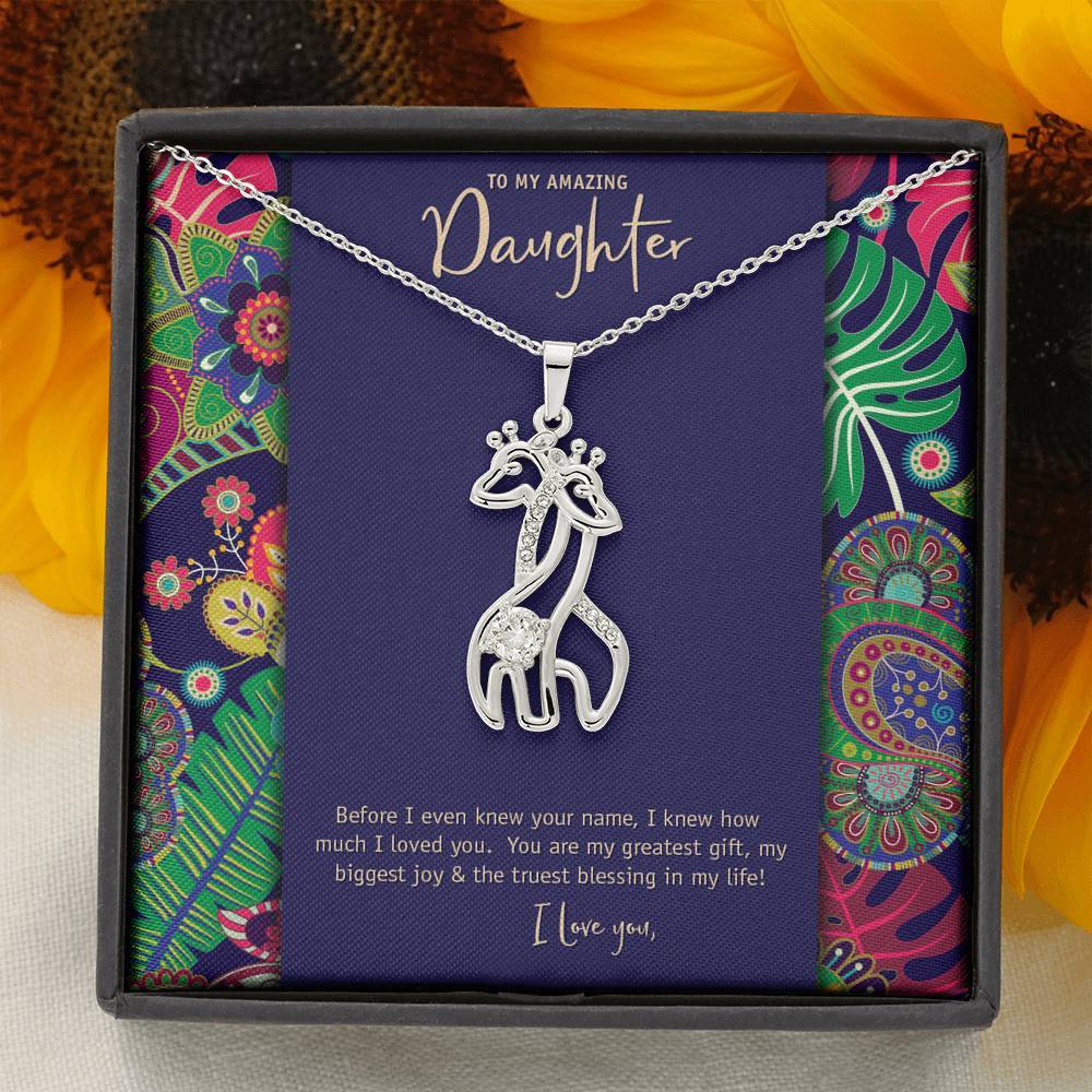 Mother's Love Giraffe Pendant • To Daughter, Love Mother Jewelry ShineOn Fulfillment 14K White Gold Finish