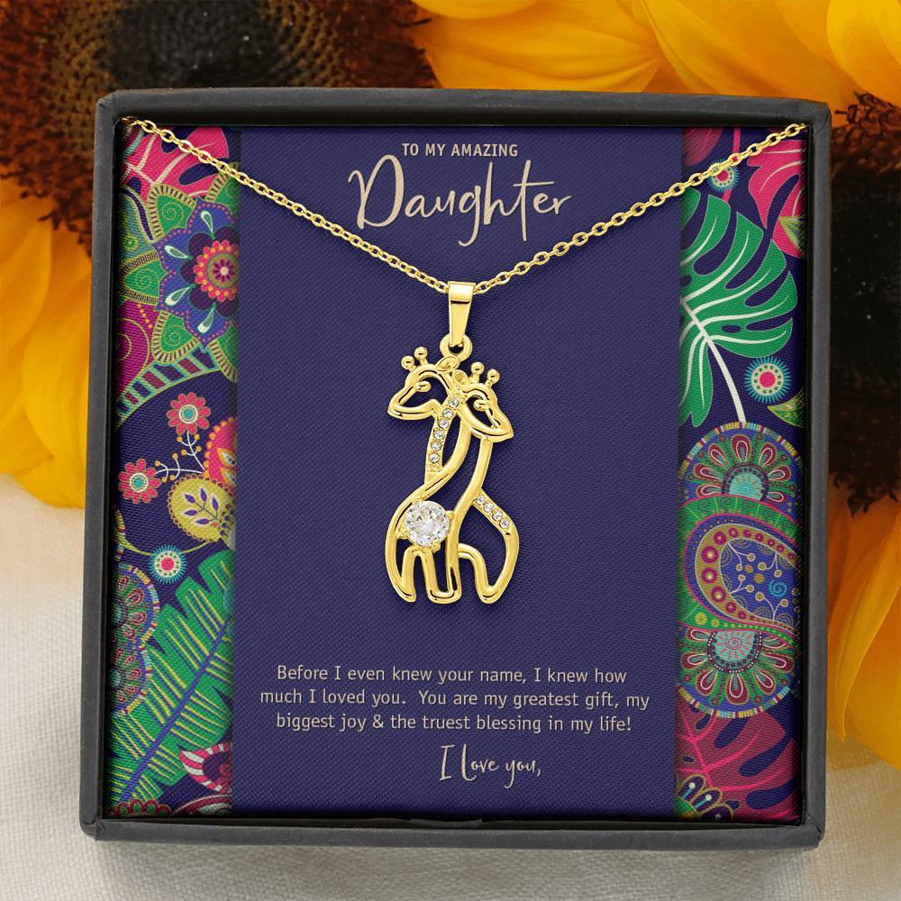 Mother's Love Giraffe Pendant • To Daughter, Love Mother Jewelry ShineOn Fulfillment 18K Yellow Gold Finish