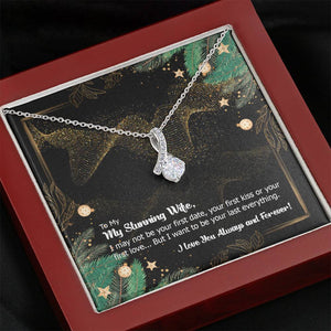 CZ Ribbon Pendant • Holiday Message to My Wife Jewelry ShineOn Fulfillment Mahogany Style Luxury Box
