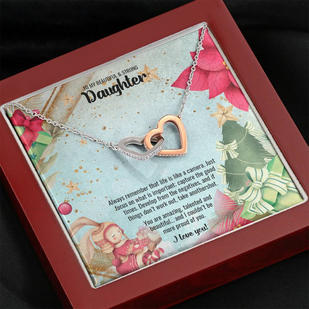 Interlocking Hearts Necklace • Christmas Message To My Daughter Jewelry ShineOn Fulfillment Mahogany Style Luxury Box