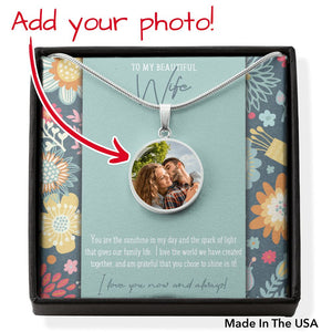 Photo Charm Pendant • Message Card To My Wife Jewelry ShineOn Fulfillment Silver No