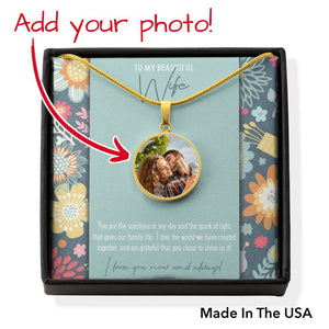 Photo Charm Pendant • Message Card To My Wife Jewelry ShineOn Fulfillment Gold No