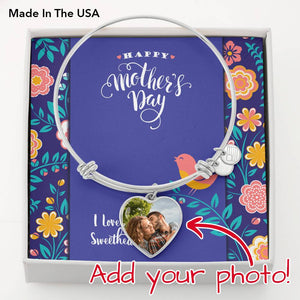 Happy Mother's Day Photo Charm Bangle Bracelet • Customize with Your Photo and Message Jewelry ShineOn Fulfillment .316 Surgical Steel Heart Pendant Bangle No