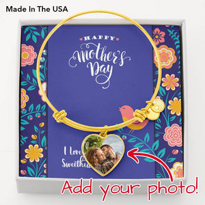 Happy Mother's Day Photo Charm Bangle Bracelet • Customize with Your Photo and Message Jewelry ShineOn Fulfillment 18k Yellow Gold Finish Heart Pendant Bangle No