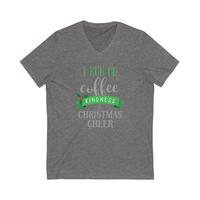 I Run on Coffee, Kindness & Christmas Cheer • Women's V-neck Tee V-neck Printify Deep Heather XS