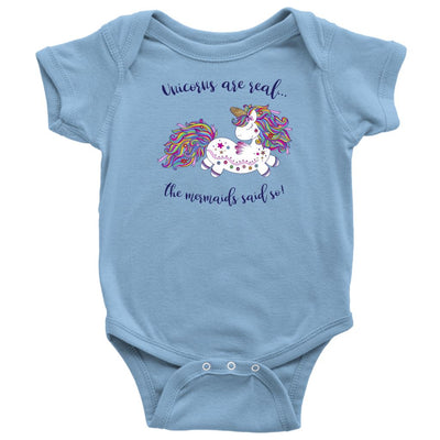 Unicorns Are Real • Baby & Kids Tees T-shirt teelaunch Onsie Light Blue NB