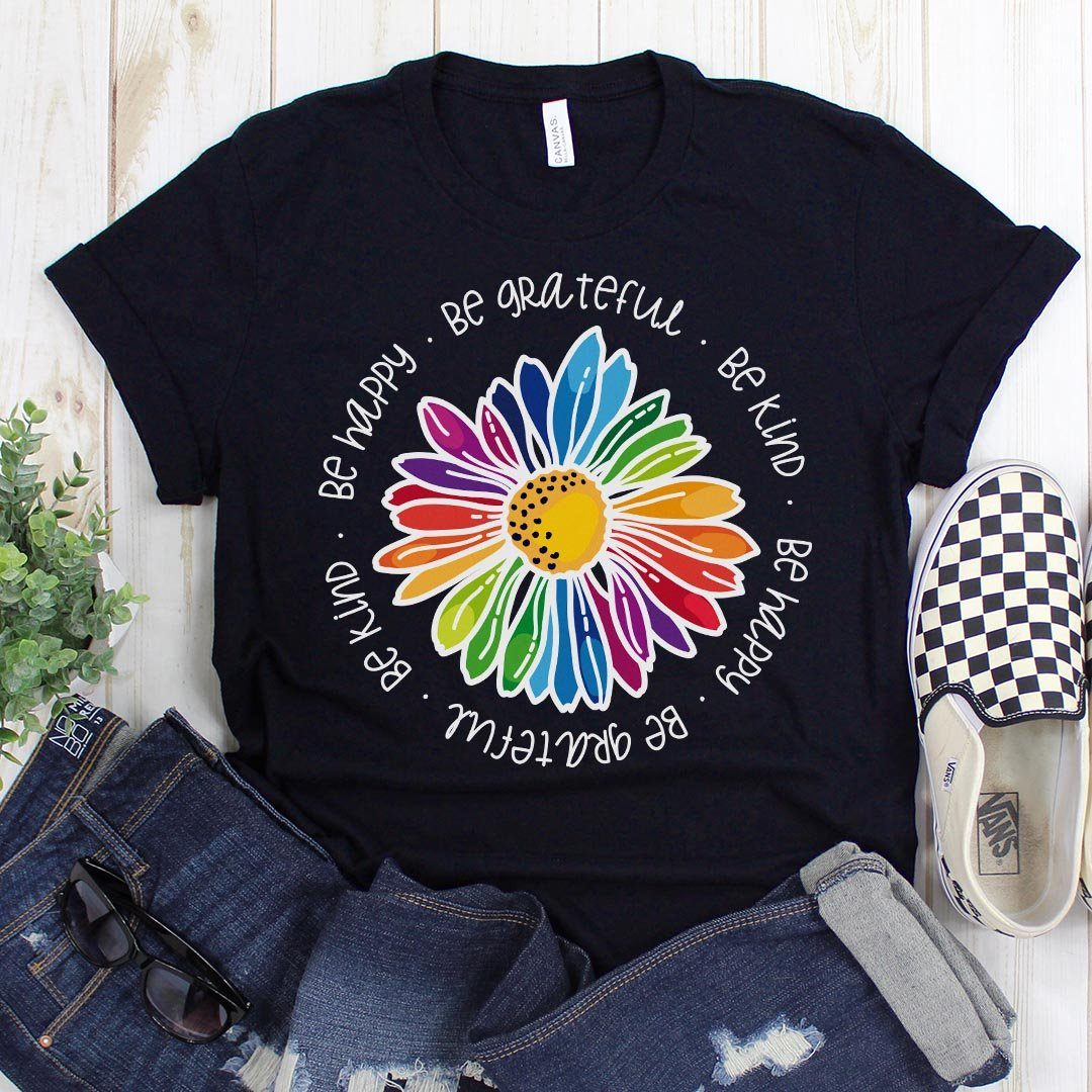 Gail's Rainbow Kindness Daisy • Unisex Tees and Tanks T-shirt teelaunch Crew Neck Navy S