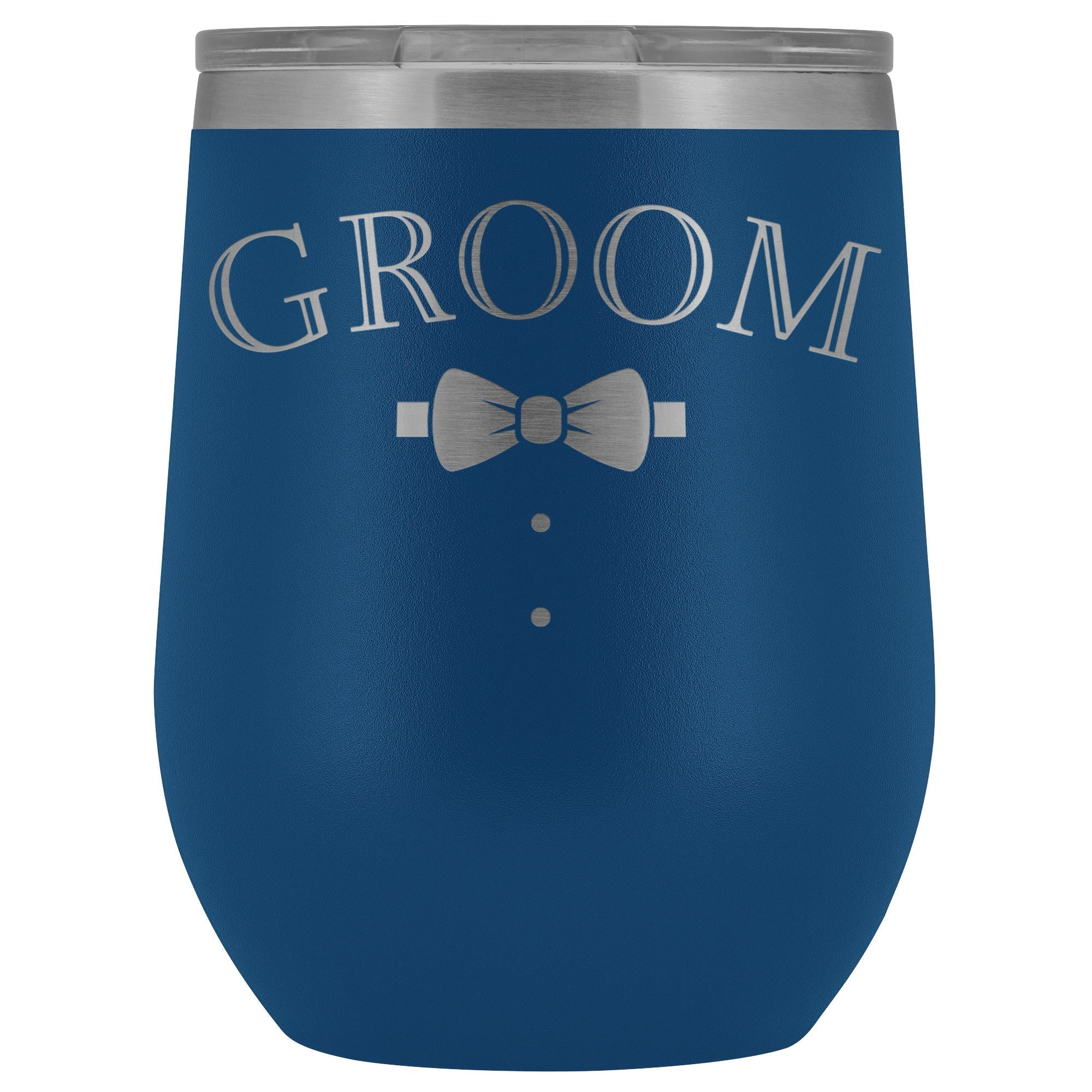 For The Groom • Engraved 12oz. Wine Tumbler Wine Tumbler teelaunch Blue
