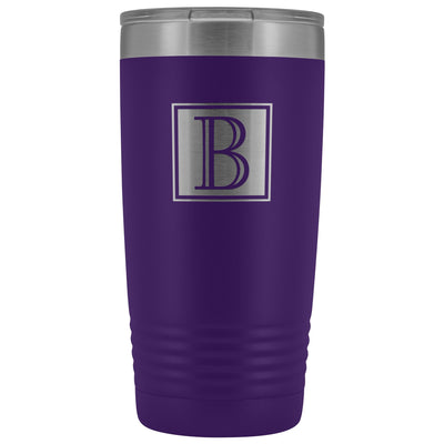 "Monogram ""B"" Insulated Travel Tumbler • Square Design Tumblers teelaunch Purple"