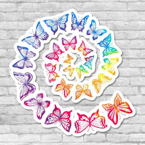 Butterfly Stickers Fibonacci Sequence Spiral Sacred Geometry