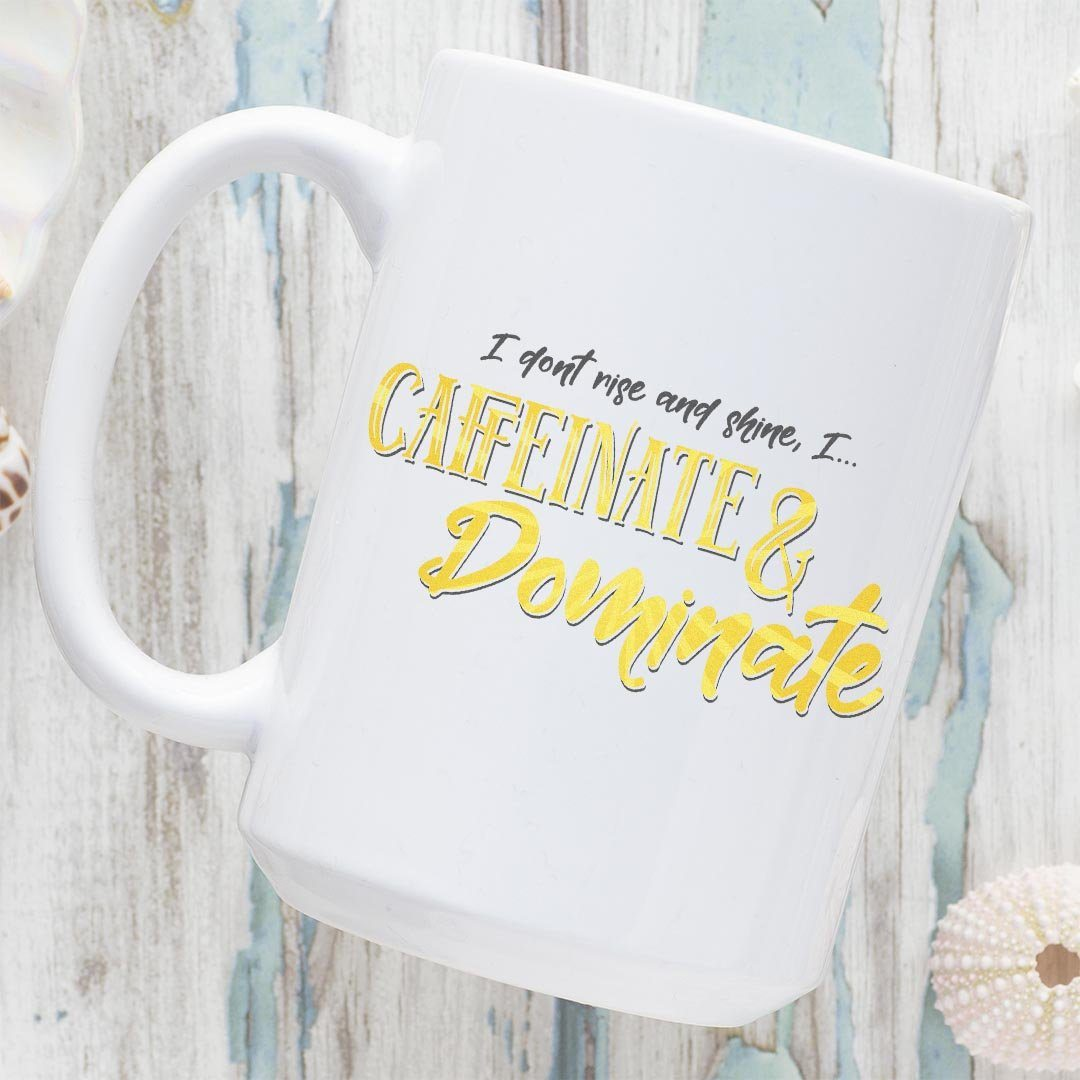 Caffeinate & Dominate • 15oz. Coffee Mug Drinkware teelaunch Caffeinate & Dominate