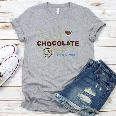 Chocolate Molecule Theobromine • Unisex T-Shirts for Chocolate Lovers T-shirt teelaunch Unisex Tee Athletic Heather S