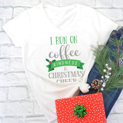 I Run on Coffee, Kindness & Christmas Cheer • Women's V-neck Tee V-neck Printify White L