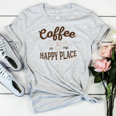 Coffee Is My Happy Place • Women's Tees T-shirt teelaunch Cotton Tee Heather Grey S