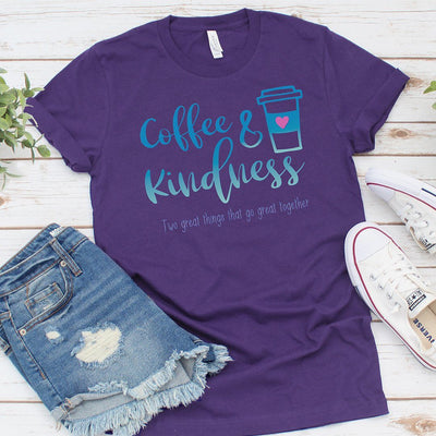 Coffee & Kindness Go Great Together • Women's DriFit Athletic Tee T-shirt teelaunch Purple S
