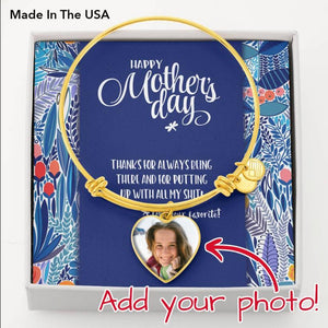 Mother's Day Photo Charm Bangle Bracelet • Message from Child Jewelry ShineOn Fulfillment 18k Yellow Gold Finish Heart Pendant Bangle No