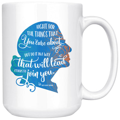 Fight for the Things You Care About Ruth Bader Ginsburg Ceramic Coffee Mug • Blue Silhouette 11oz. or 15oz. Drinkware teelaunch 15oz Mug