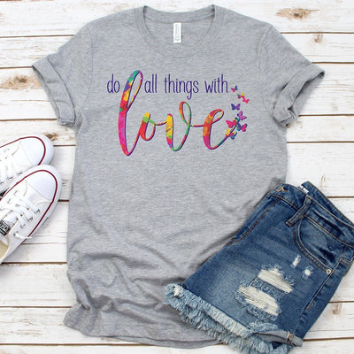 Do All Things With Love • Women's Tees T-shirt teelaunch Cotton Tee Heather Grey S