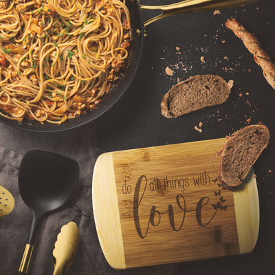 Do All Things with Love • Bamboo Cutting Board Wood Cutting Boards teelaunch Round Edge Wood Cutting Board