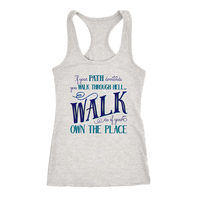 Walk Through Hell Blue Design • Women's Tank Top T-shirt teelaunch Heather Grey XS