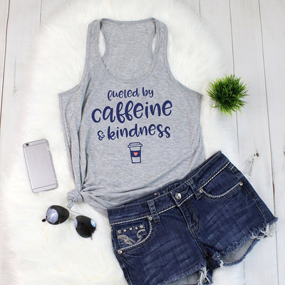 Fueled By Caffeine & Kindness • Women's Racerback Tank Tops T-shirt teelaunch Heather Grey XS