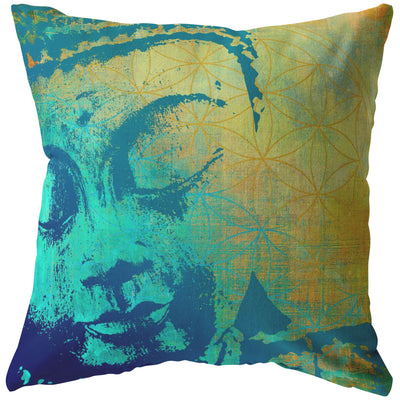 Tree Of Life Buddha Throw Pillow Pillows Multi teelaunch Stuffed & Sewn 18 x 18