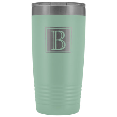 "Monogram ""B"" Insulated Travel Tumbler • Square Design Tumblers teelaunch Teal"