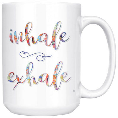 INHALE EXHALE Colorful Floral • 15oz. Large Coffee Mug Drinkware teelaunch Inhale Exhale Floral