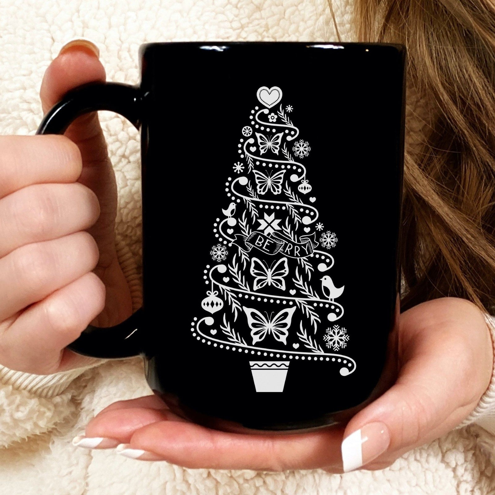 Hygge Christmas Tree Coffee Mug • Cottagecore Cozy Vibes Holiday Mug Drinkware CustomCat