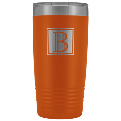 "Monogram ""B"" Insulated Travel Tumbler • Square Design Tumblers teelaunch Orange"