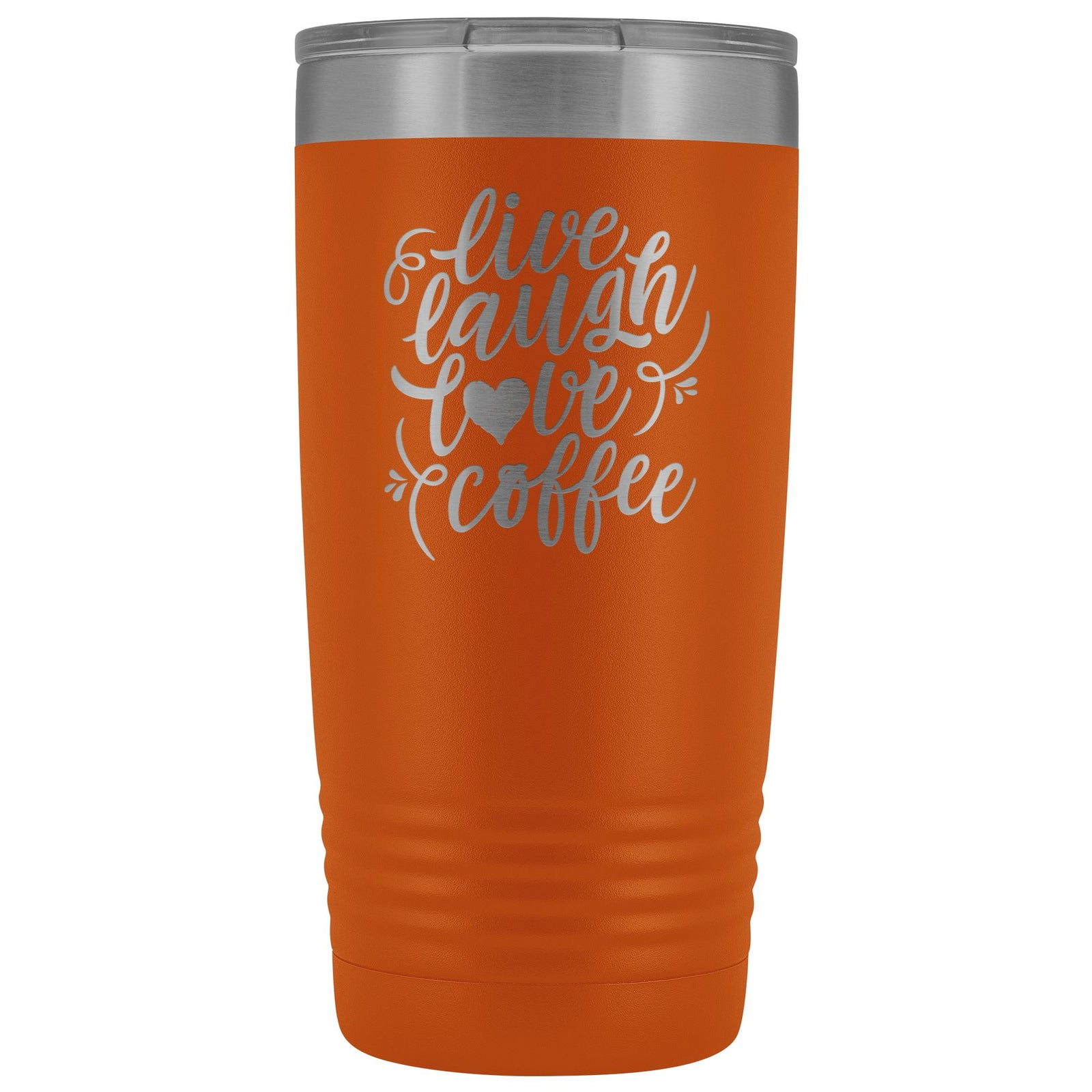 Live, Laugh, Love, Coffee • 15oz Insulated Coffee Tumbler Tumblers teelaunch Orange