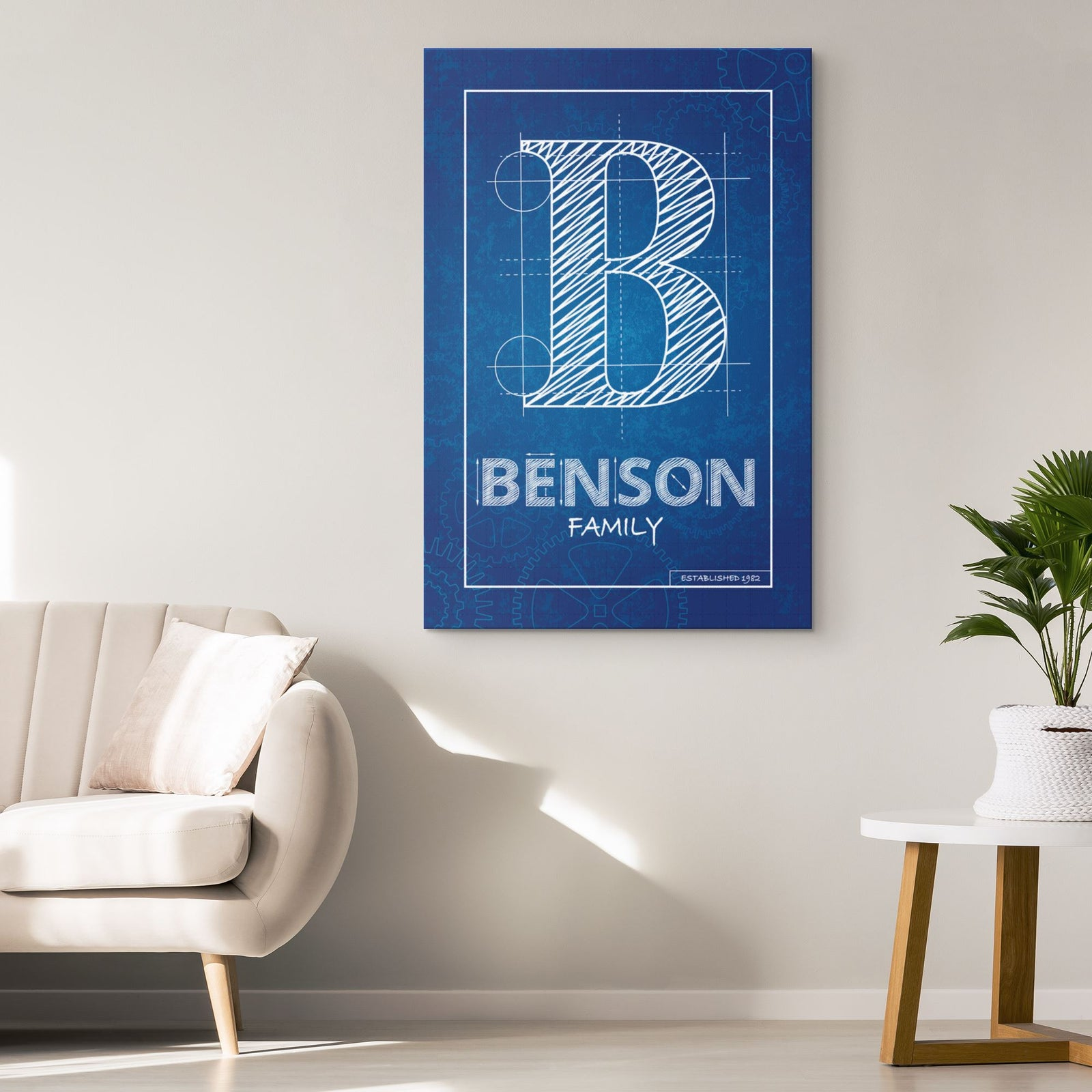 Blueprint Family Name Canvas • Custom Last Name Sign Canvas Wall Art 2 teelaunch