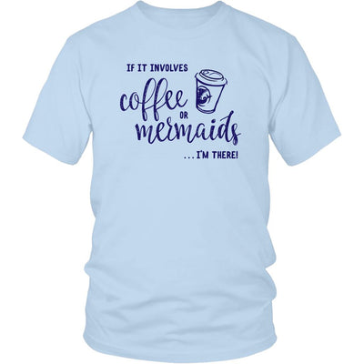 Coffee or Mermaids • Women's Bright Tees & Tank Tops T-shirt teelaunch Unisex Tee Ice Blue S