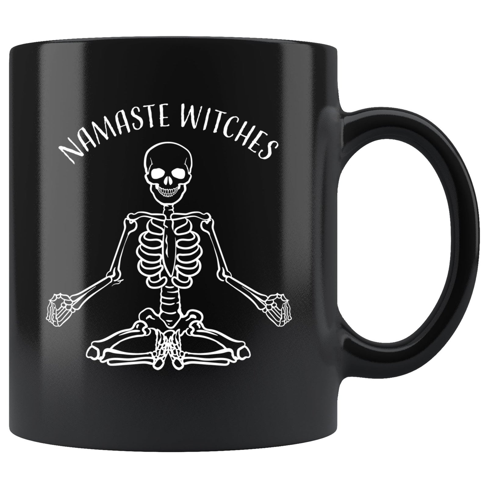 Namaste Witches Funny Halloween 11oz. Black Mug Drinkware teelaunch Namaste Witches
