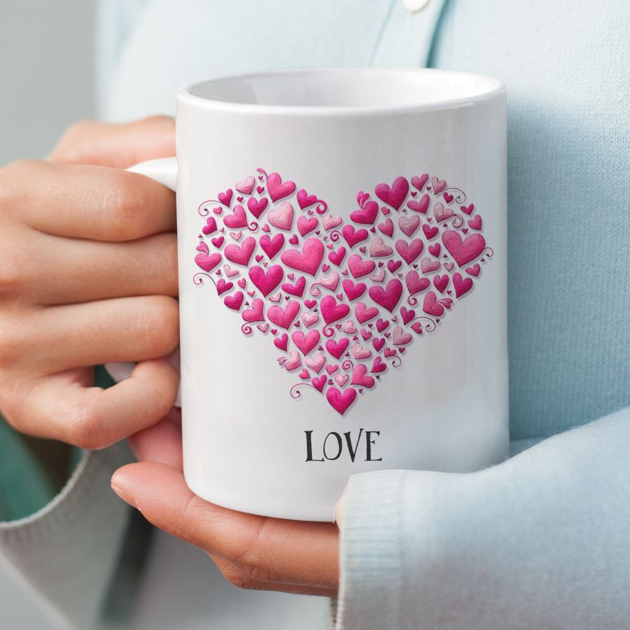 Hearts with Love • 15oz. Ceramic Coffee Mug Drinkware teelaunch