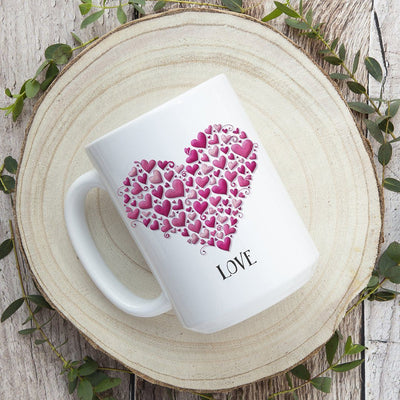 Hearts with Love • 15oz. Ceramic Coffee Mug
