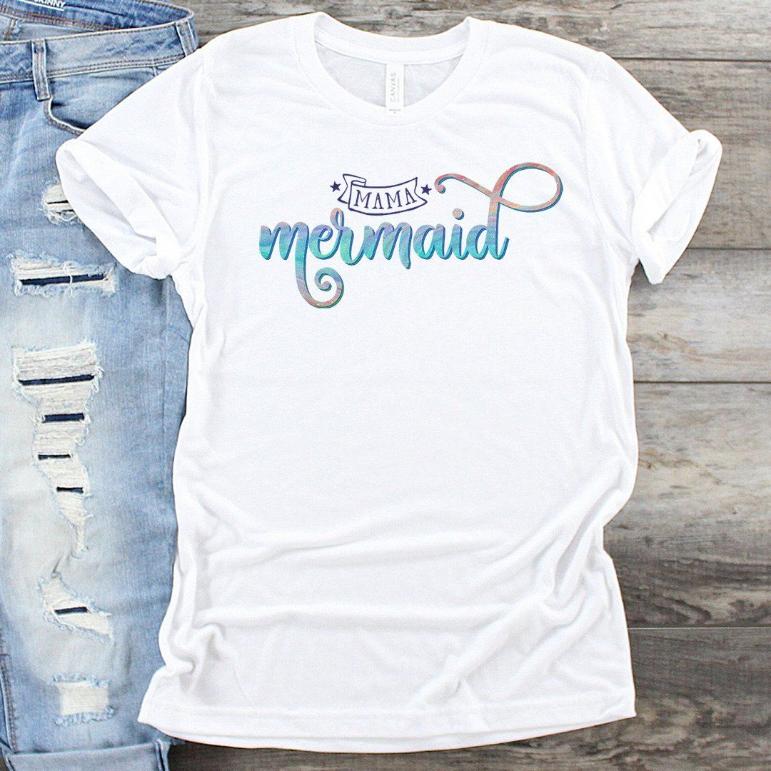 Mama Mermaid • Women's Tees T-shirt teelaunch Cotton Tee White S