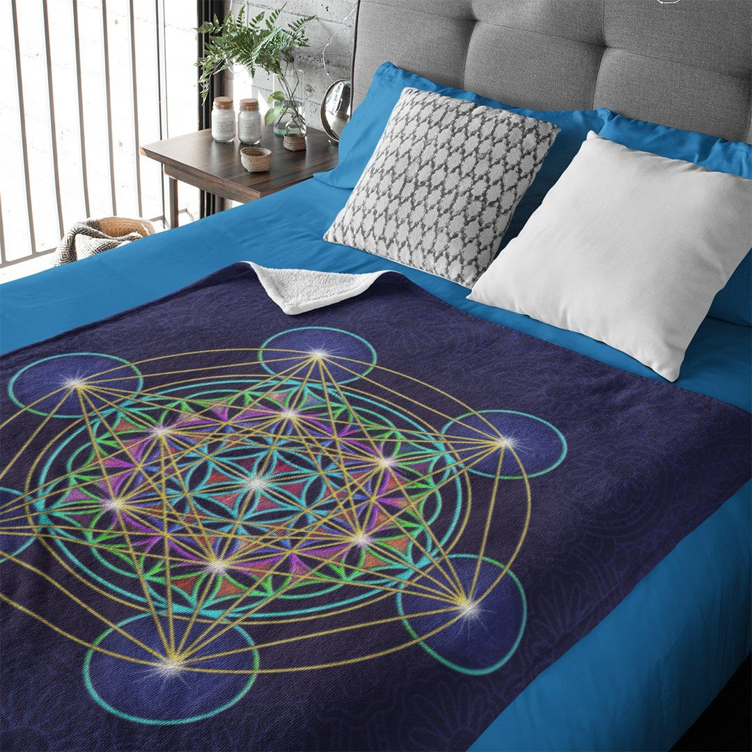 Metatron's Cube Fleece Blanket
