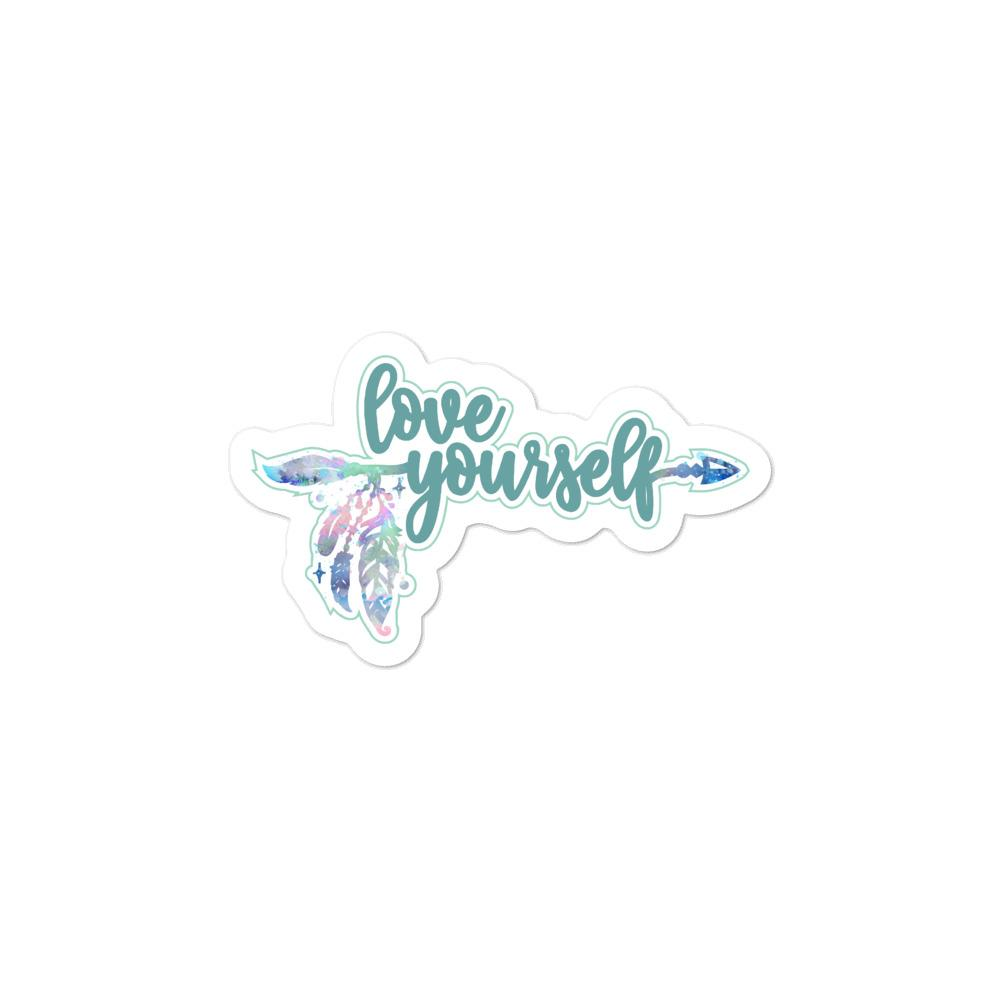 Love Yourself Green Sticker Salmon Olive 3x3