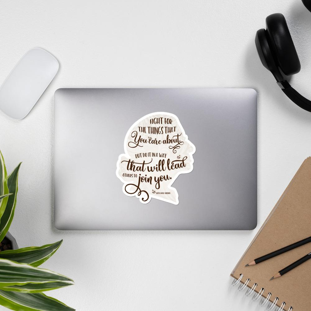 RBG Brown Sticker Silhouette with Quote Salmon Olive
