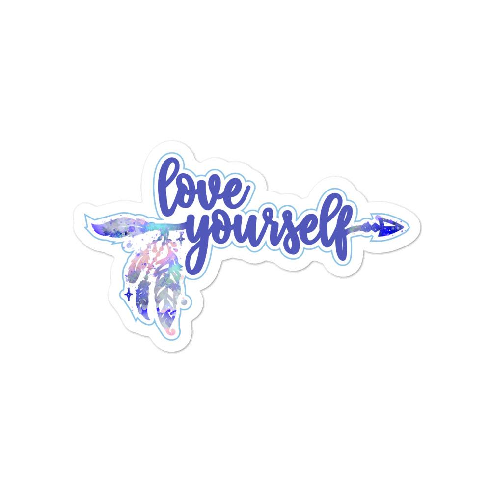Love Yourself Blue Sticker Salmon Olive 4x4