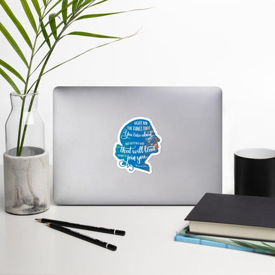 RBG Sticker Silhoutte with Quote - Blue Salmon Olive
