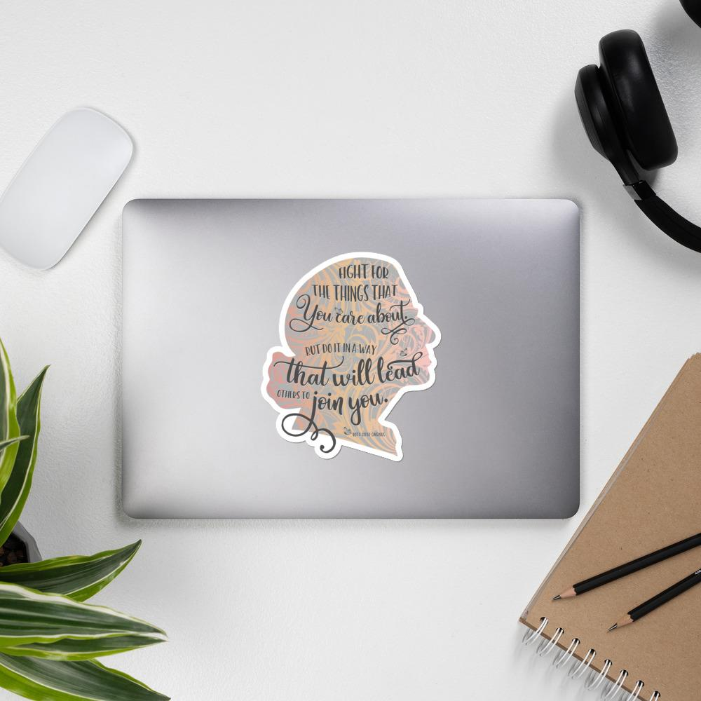 RBG Sticker Silhoutte with Quote - Grey Salmon Olive