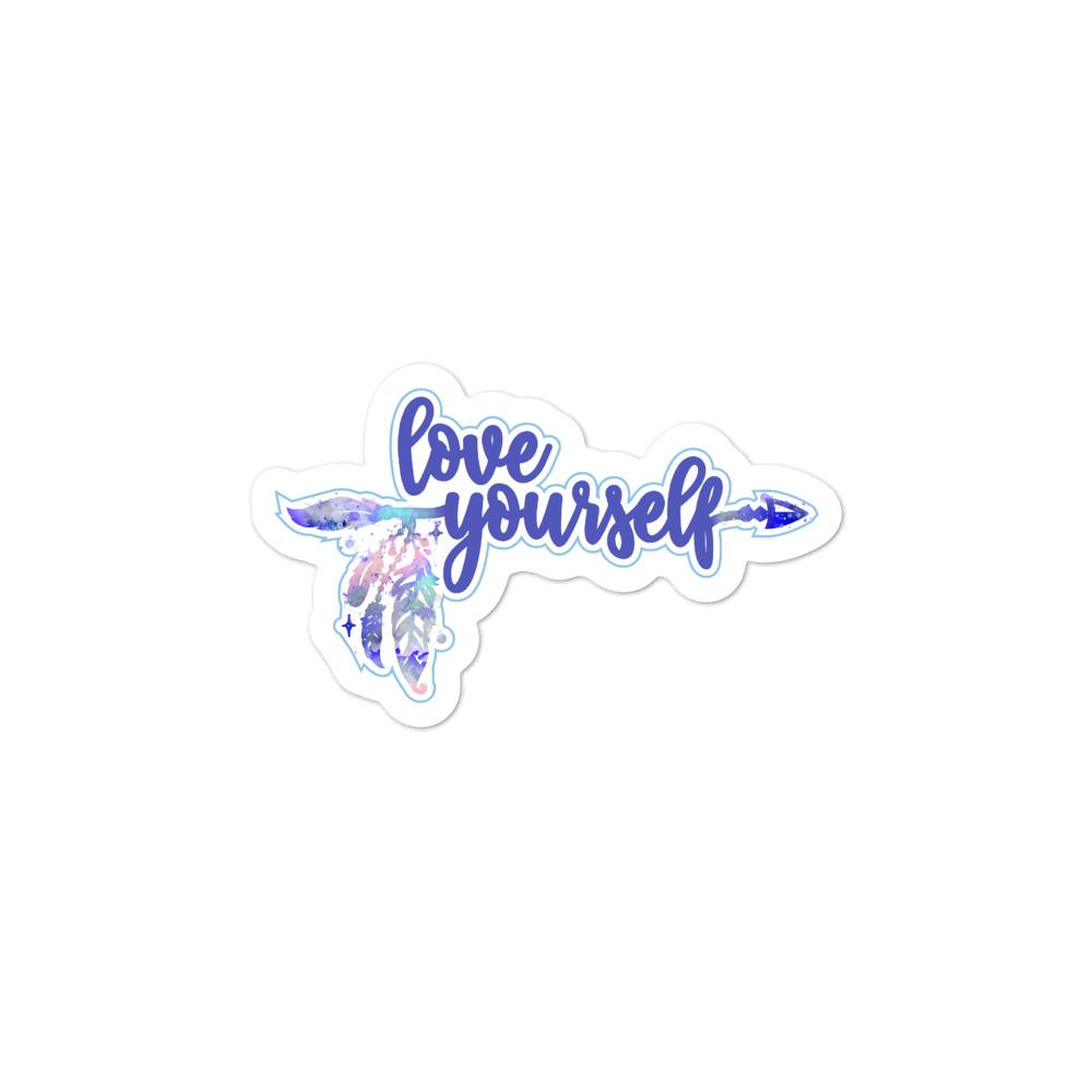 Love Yourself Blue Sticker Salmon Olive 3x3