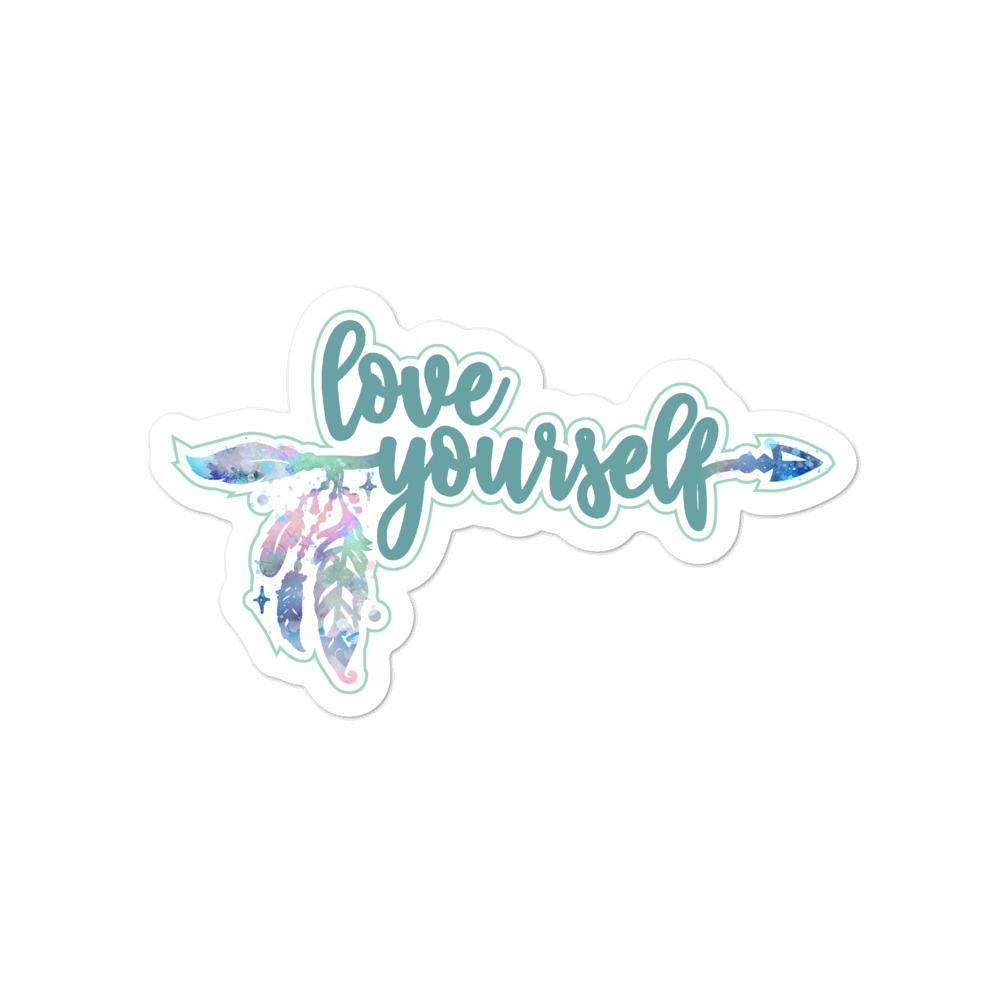 Love Yourself Green Sticker Salmon Olive 4x4