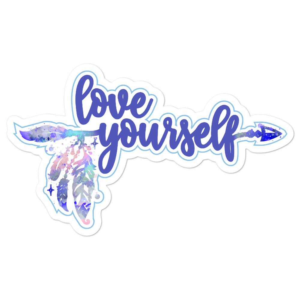 Love Yourself Blue Sticker Salmon Olive 5.5x5.5