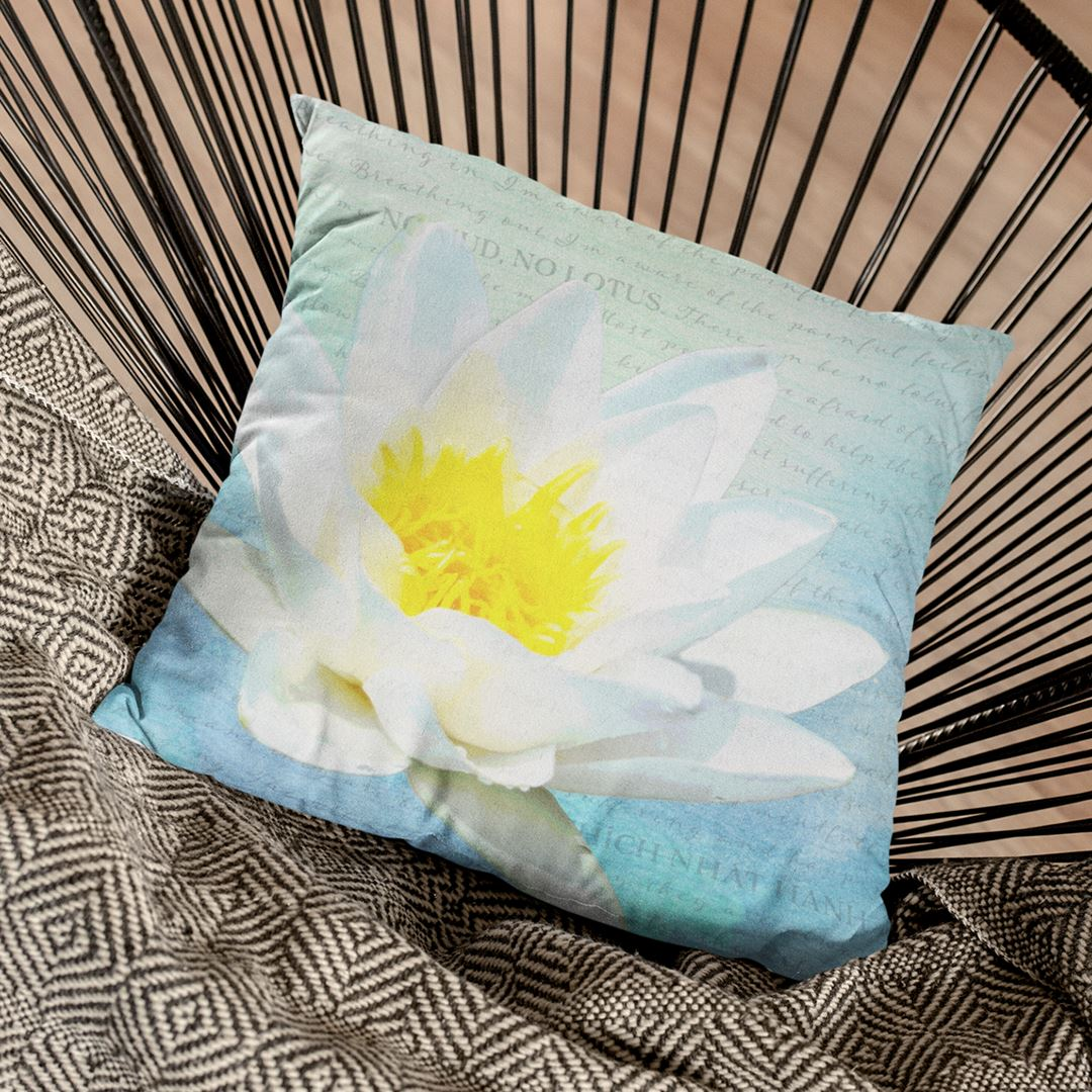 No Mud No Lotus Throw Pillow Pillows Multi teelaunch Stuffed & Sewn 16 x 16