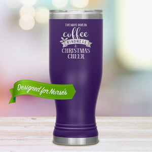 Nurse Coffee Tumbler • This Nurse Runs on Coffee, Kindness & Christmas Cheer Tumblers teelaunch Purple